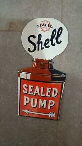 """Porcelain Shell Sealed Pump Enamel Sign Size 10"""" x 5"""" Inches"""