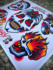 Skulls! Tattoo Flash Art Print | Neo-Traditional / Sailor Jerry