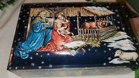 Lebkuchen Schmidt German Cookie/Biscuit Tin Christmas Nativity Scene Germany