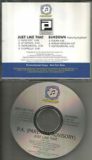 PARENTAL ADVISORY P.A. Just like / Sundown 7TRX INSTRUMENTAL & ACAPELA PROMO CD
