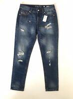 Miss Me Women's Size 26 Boyfriend Ankle Jeans  Medium Dark Wash Distressed NWT