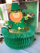 Vintage St Patrick's Day Leprechaun in pot gold Honeycomb center piece 13 in