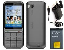 New Condition Nokia c3-01 5MP Bluetooth Grey Touch & Type 3G Unlocked Phone