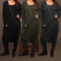 UK Women Long Sleeve Oversize Zip Up Jumpsuit Playsuit Overalls Harem Pants 8-26