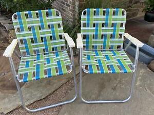 2 Vintage Green Blue Aluminum Beach Lawn Chair Outdoor Folding Nylon Webbed