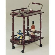 Cherry Serving Cart Wood Brass Rolling Storage Rack Shelves Wine Tea Bar Drinks