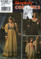 Simplicity Costumes 8192 Renaissance Medieval Gown Sewing Pattern 16-18-20 Uncut