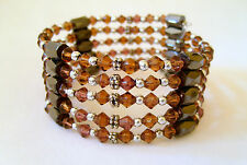 MAGNETIC BRACELET or NECKLACE. CAN BE WORN BOTH WAYS! BROWN BEADS