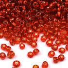 cuentas de rocalla de vidrio 2mm Agujero Plateado Rojo 20g (12/0)