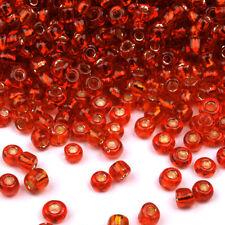 Perles de Rocailles en verre 2mm Trou Argenté Rouge 20g (12/0)