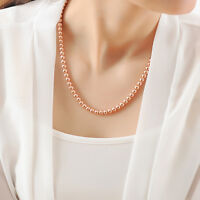 Stunning 18K Rose Gold Filled Women's 6MM Solid Ball Beads Charm Necklace 20""