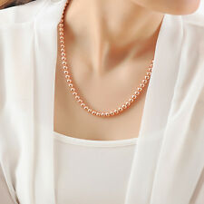 Stunning 18K Rose Gold Filled Women's 6MM Solid Ball Beads Chain Necklace 20""
