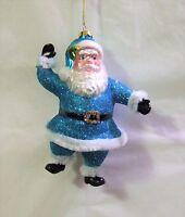 December Diamonds #79-80368 Blue Santa Claus Glass Christmas Ornament 6'' (DD5)