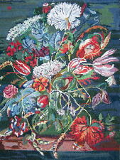 """Large Needlepoint Tapestry Panel Canvas Flowers tulips blue green red 21""""x17"""""""