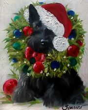 SPARROW Scottish Terrier Scottie Wreath ornaments Christmas Dog Pup Holiday Art