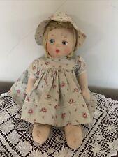 Vintage Early Mollye Cloth Doll with Yarn Hair Molded Face Side Glance Eyes