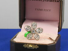 Juicy Couture Silvertone Crystal Stone Daisy Adjustable to Size 8 Ring $78