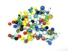 Mixed Vintage Lot Used Blue Yellow White Decorative Swirl Pattern Solid Marbles