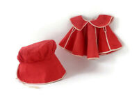 Vintage Doll Sunsuit Red Cotton Dress & Bonnet for Baby Doll Clothing