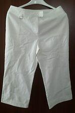 Irene Van Ryb Women's 100% Cotton Beige/White Capri Pants Inseam 20.5 Sz 42