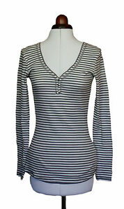 White Stuff long sleeved cotton grey/white striped top  *REDUCED*