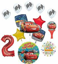 Cars Lightning McQueen 2nd Birthday Party Supplies Sing A Tune Balloon Bouque...