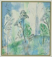 Vintage Mid-Century Original Screenprint Abstract Botanical Composition Linnel