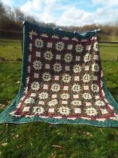 Vintage Hand Made Double Kingsize Patchwork Quilt Floral Patterned Bed Throw