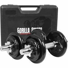 Gorilla Sports 20KG Dumbbell Set with Carry Case
