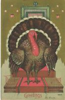THANKSGIVING – Turkey, Stars and Stripes Patriotic Postcard