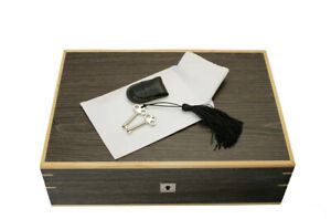10 WATCH GREY GINKO WOOD STORAGE BOX CASE CHEST LOCKABLE 2 KEYS CLEANING CLOTH