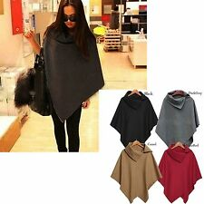 Warm Winter Fashion Women Batwing Cape Wool Poncho Jacket Lady Cloak Coat