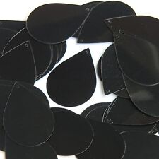 "Black Shiny Opaque Sequins Teardrop 1.5"" Large Couture Paillettes"