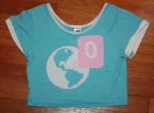 Lunar Descent No Notifications Facebook Icon Light Blue Crop Top XS S Fairy Kei