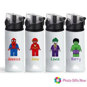 PERSONALISED LEGO Superhero Water Bottle 750ml Sport/school/Christmas gift