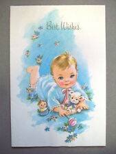 Unused new Baby best wishes vintage greeting card  *T