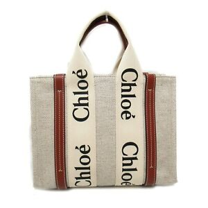 Chloe Tote Bag 21US38590U canvas leather Beige NEW Women logo