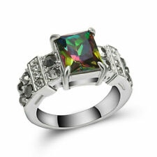 Jewellry Size8 Woman Rainbow Sapphire 10k Black Gold Filled Band Engagement Ring