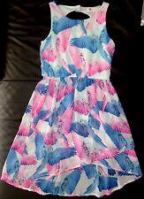Robe Voile Pan Déstructuré Motifs Oiseaux Rose Bleu Ouverture dos H&M 10 11 ANS