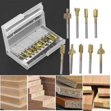 "10Pcs Titanium Router Wood Milling Cutter Bits Fits 1/8"" Shank Rotary Tool Set"