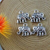 100pcs Retro Style Silver Alloy Mini Elephant Handmade Necklace Pendant Jewelry