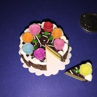 DOLLHOUSE Mini Food **DECORATED MIXED ROSE ICED CAKE 8 x SLICES** BARBIE PARTY