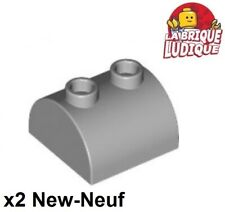 Lego - 2x Brique Brick Modified 2x2 Curved Top 2 Studs gris/l b gray 30165 NEUF