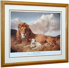 "Nancy Glazier PEACE & HARMONY 13.5"" x 20""  Proverbs 16:7 Matted Framed Lion Lamb"