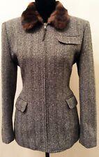 Lauren Ralph Lauren Womens Jacket Sz 4 Black Herringbone Faux Fur Trim Silk Wool