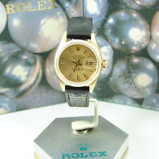 Rolex 18k Yellow Gold President with Champagne Tapestry Dial Ladies Watch