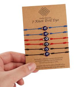 6 Pcs Set Evil Eye Nazar Bracelet Kabbalah Amulet 7 Knots Lucky Protection Uk