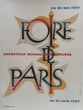 """""""FOIRE DE PARIS 1957"""" Affiche originale entoilée Litho A.M. CASSANDRE 41x53cm"""