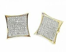 10K Yellow Gold Diamond Earrings .45ct Micro Pave Screw Backs Big Look Men Size