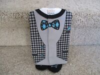 Tender Kisses Baby Boy/'s Sleep /& Play Chevron print with bowtie stamp and shoes